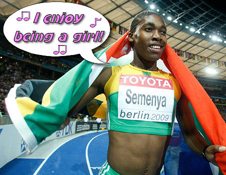 Caster Semenya celebrates after crushing the competition at the World Atheletic Championships in Berlin. We are unable to show the athelete from the waist down due to legal restrictions.