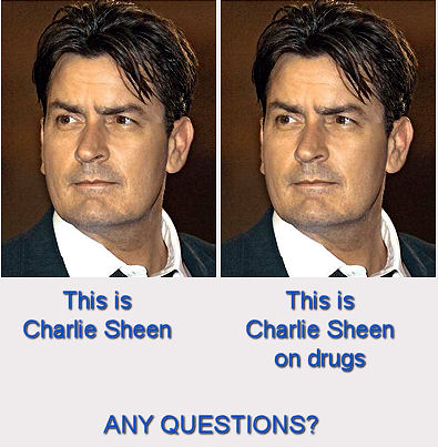 A still from a public service announcement warning people to avoid Charlie Sheen