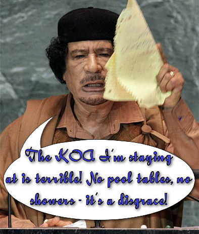 "Moammar Gadhafi gestures with his hand-written ""speech"" as he bores the UN nearly to death."