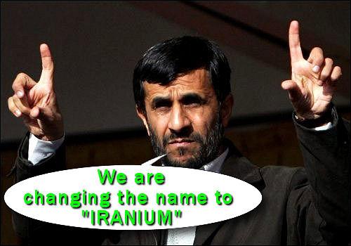Iranian President Mahmoud Ahmadinejad emphasizes a point. Not seen in the phot is his companion Mini Mahmoud.