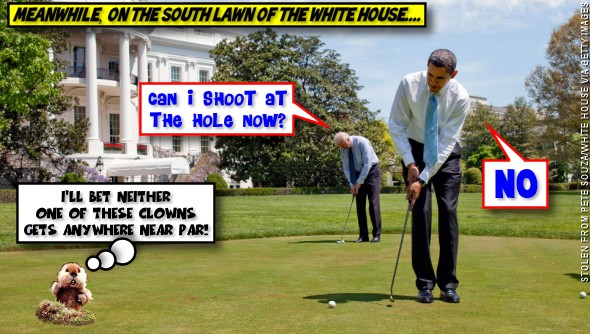 Golf practice on the South Lawn